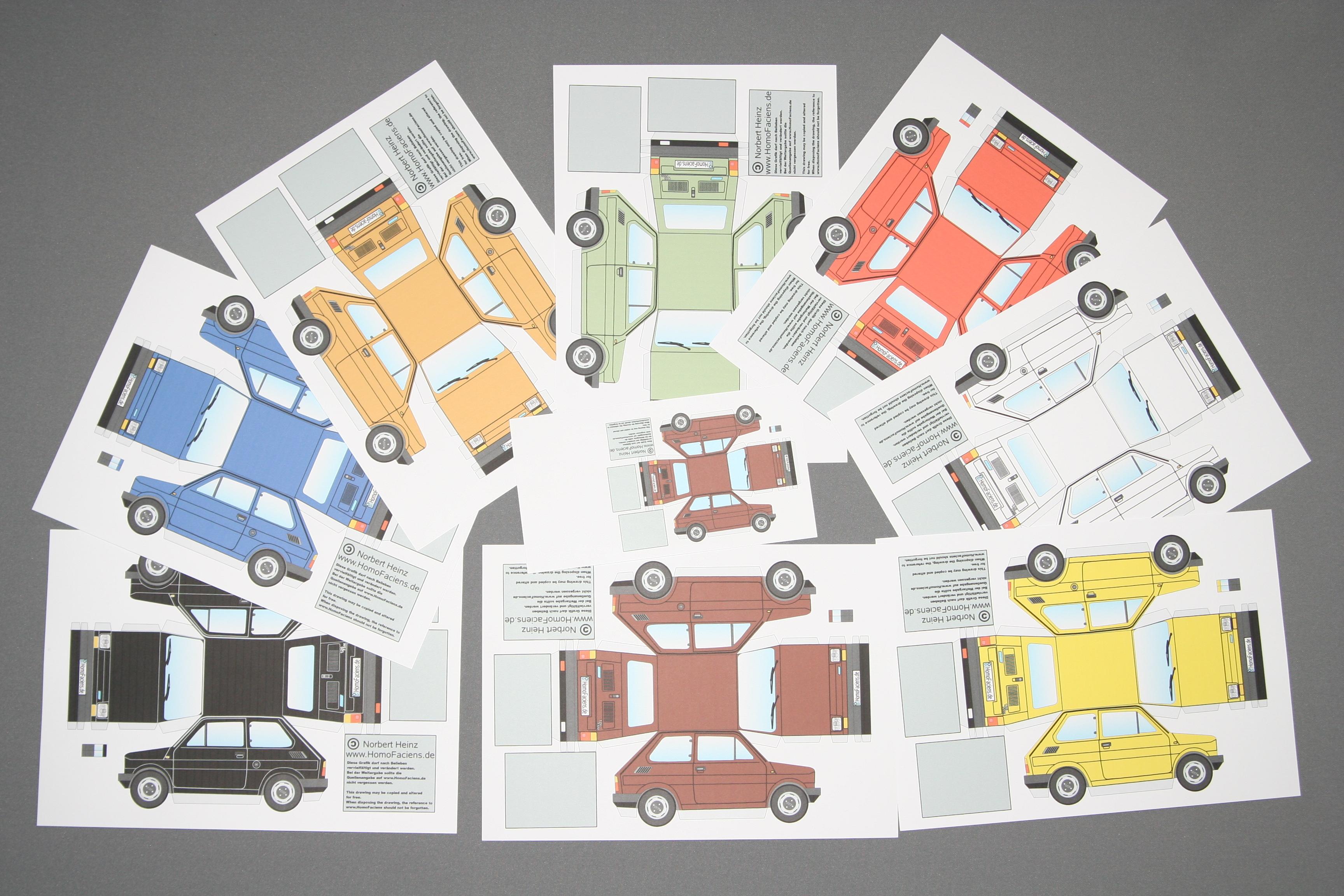 Papiermodell Fiat 126 Homofaciens